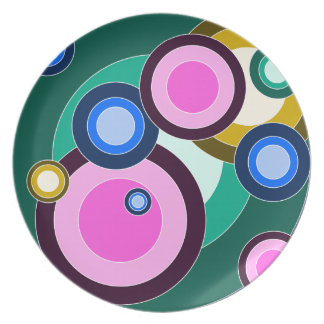 Fun Bright Retro Circles Pattern Plate