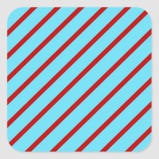 Fun Bright Teal Turquoise Red Diagonal Stripes Square Sticker