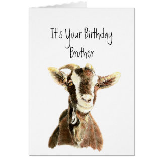 Fun Brother Birthday Over the Hill, Old Goat Humor Greeting Card