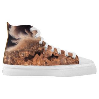 Fun Brown Beige Amber Gemstone Crystal Patterns Printed Shoes