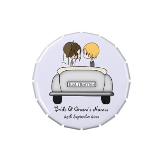 Fun Brunette Bride Blonde Groom in Grey Car Jelly Belly Candy Tins