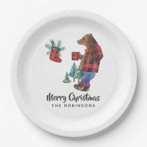 Fun Buffalo Plaid Lumberjack Bear Christmas Party Paper Plate