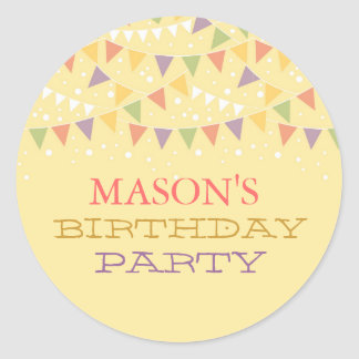 Fun Bunting Birthday Party Sticker