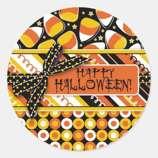 Fun Candy Corn Halloween colours Classic Round Sticker