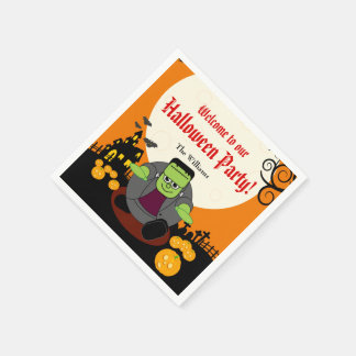 Fun cartoon full moon Halloween Frankenstein scene Disposable Napkins