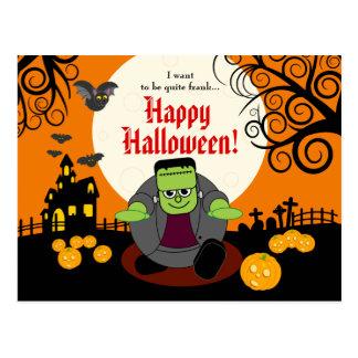Fun cartoon full moon Halloween Frankenstein scene Postcard
