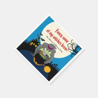 Fun cartoon full moon scary Halloween witch scene, Paper Napkins