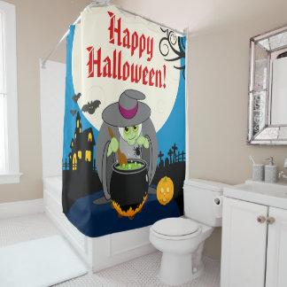 Fun cartoon full moon scary Halloween witch scene, Shower Curtain