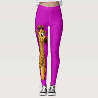 Fun cartoon giraffe leggings purple pattern