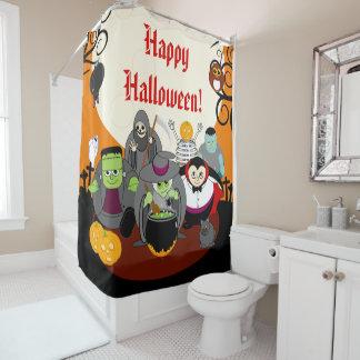 Fun cartoon Halloween monster costume party group, Shower Curtain