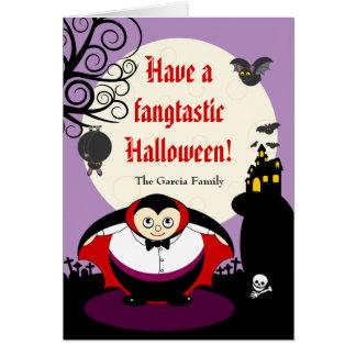 Fun cartoon Halloween vampire Dracula scene, Card