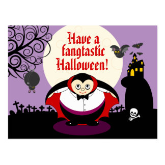 Fun cartoon Halloween vampire Dracula scene, Postcard