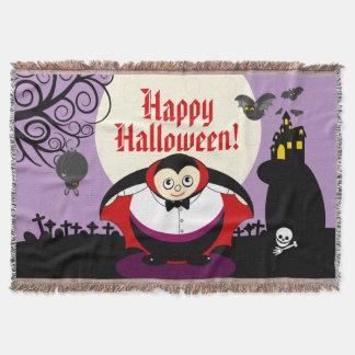 Fun cartoon Halloween vampire Dracula scene, Throw Blanket