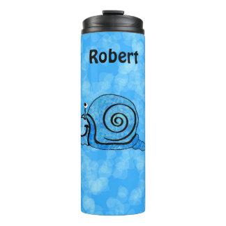 Fun Cartoon Happy Snail Shades Aqua Blue Thermal Tumbler