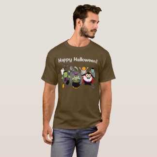 Fun cartoon of a group of Halloween monsters, T-Shirt