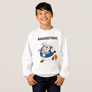 Fun cartoon of a sheep dribbling a basketball, sweatshirt