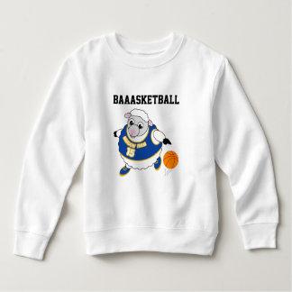 Fun cartoon of a sheep dribbling a basketball, sweatshirt