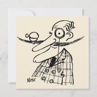 Fun Cartoon of Aristocrat with Handlebar Moustache Card