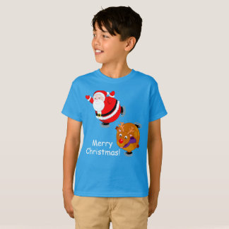 Fun cartoon of Santa Claus & Rudolph ice skating, T-Shirt