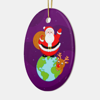 Fun cartoon of Santa Claus standing on the Earth, Christmas Ornament