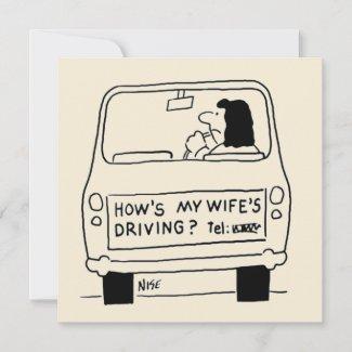 Fun Cartoon of Wife Driving a Car Card