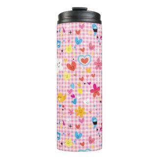 fun cartoon pattern pink thermal tumbler