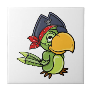 Fun Cartoon Pirate Parrot Tile