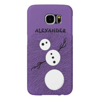 Fun Cartoon Snowman Winter Christmas Holiday Samsung Galaxy S6 Cases