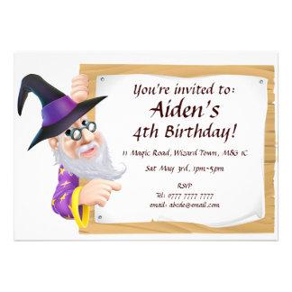 Fun cartoon wizard birthday invitation