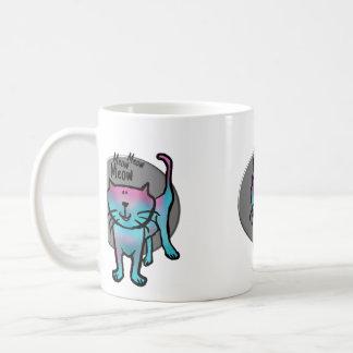 Fun cat illustration meow meow meow text on a  mug