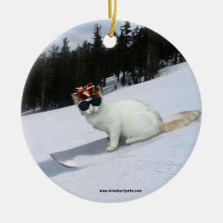 Fun Cat on a Snowboard Holiday Ornament