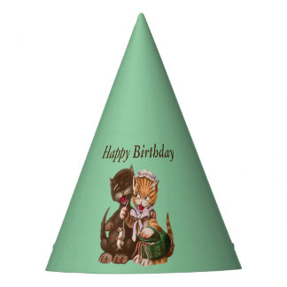 Fun Cats Birthday Gift of Rats from Green Basket Party Hat