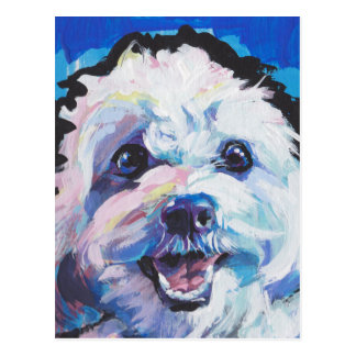 Fun Cavachon Dog bright colorful Pop Art painting Postcard