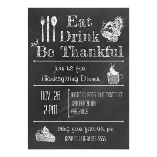 Fun Chalkboard Thanksgiving Invitation