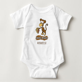 Fun Cheeky Monkey Cartoon Design Baby Bodysuit