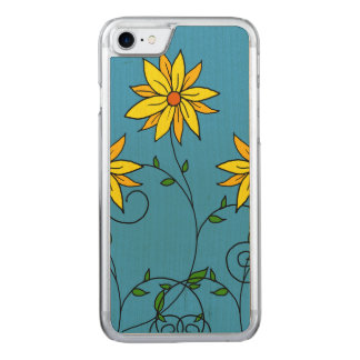 Fun Cheerful Yellow Flowers Doodle Art Carved iPhone 8/7 Case