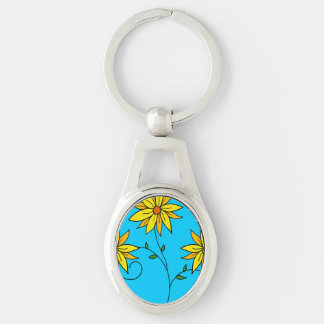 Fun Cheerful Yellow Flowers Doodle Art Silver-Colored Oval Key Ring