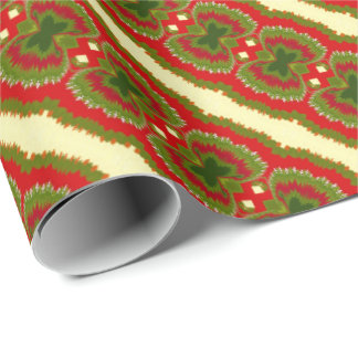 Fun Chic Gold Red Magenta Green Christmas Stripes Wrapping Paper