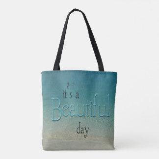 Fun Chic 'It's a Beautiful Day' Beach Tote Bag