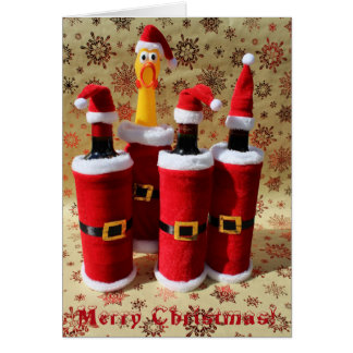 Fun Chicken and Wine Christmas Greeting Card! Greeting Card