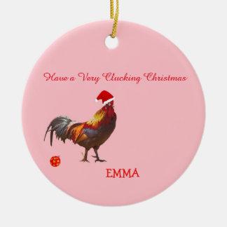 Fun Chicken Christmas Greeting Christmas Ornament
