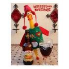 Fun Chicken Christmas Postcard! Postcard
