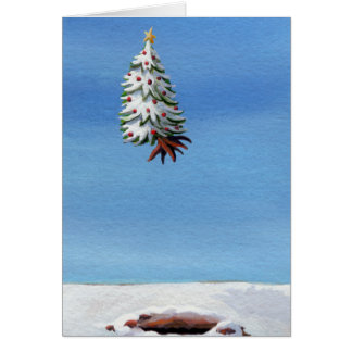 Fun Christmas card flying tree Holiday Travel art