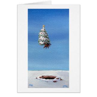 Fun Christmas cards flying tree holiday travel art