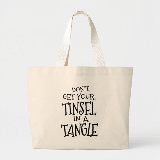 Fun Christmas Holiday Tinsel Stresser Large Tote Bag