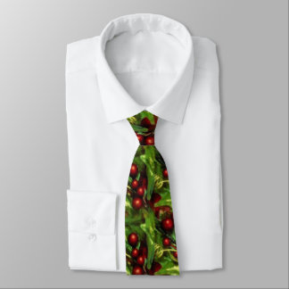 Fun Christmas holly pattern tie