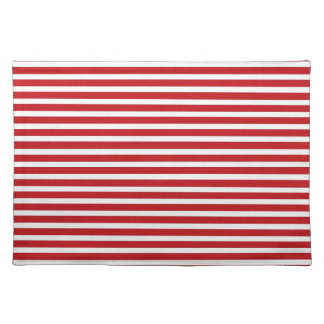 Fun Christmas Nautical Red White Stripes Pattern Placemats