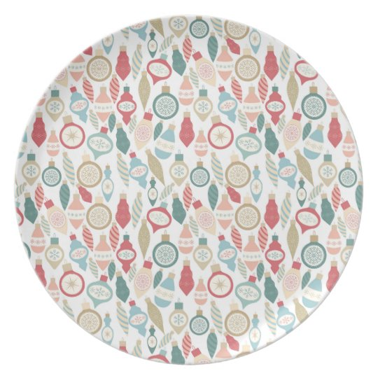 Fun Christmas ornament pattern, soft colours Plate