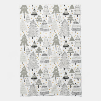 Fun Christmas Tree Farm pattern with gold dots Tea Towel