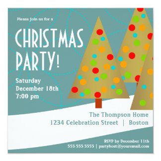 Fun Christmas Tree Trio Holiday Party Invitation